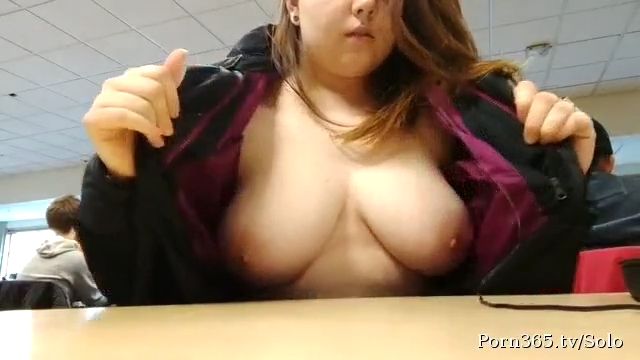 Big boobs school girl flashing on webcam in school